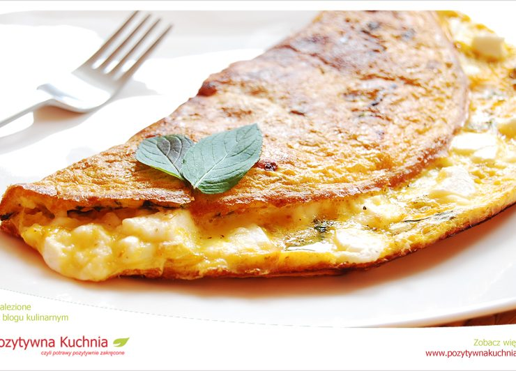 Omlet z kozim serem i miętą