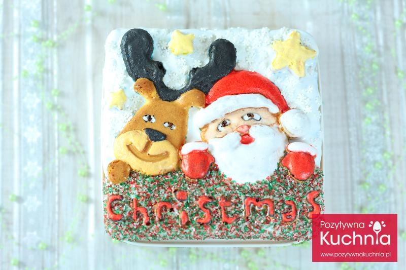 """Ciasto świąteczne """"Mikołaj z reniferem"""" dla dzieci"""