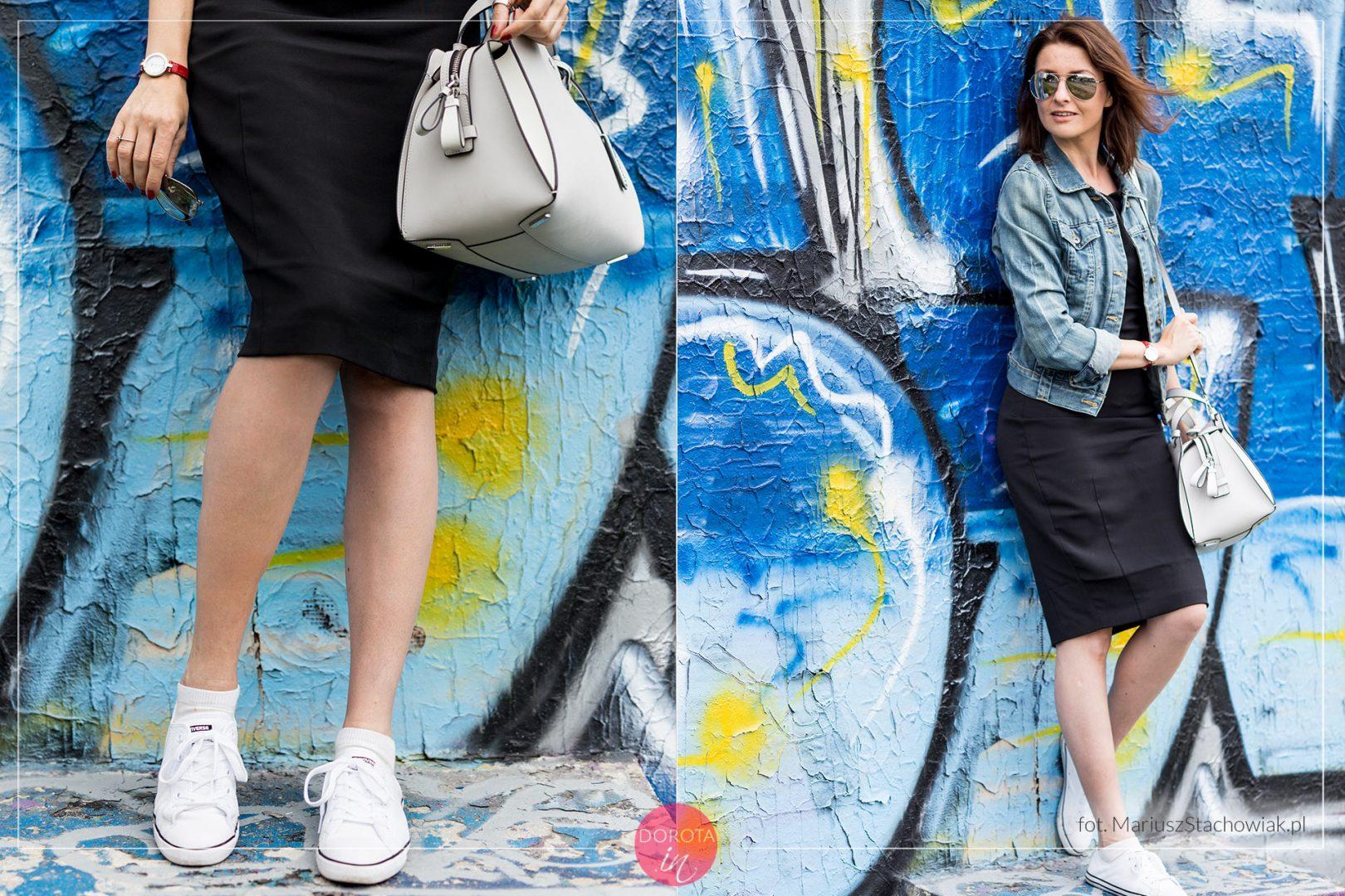 71e87c603b Czarna sukienka białe tenisówki stylizacja
