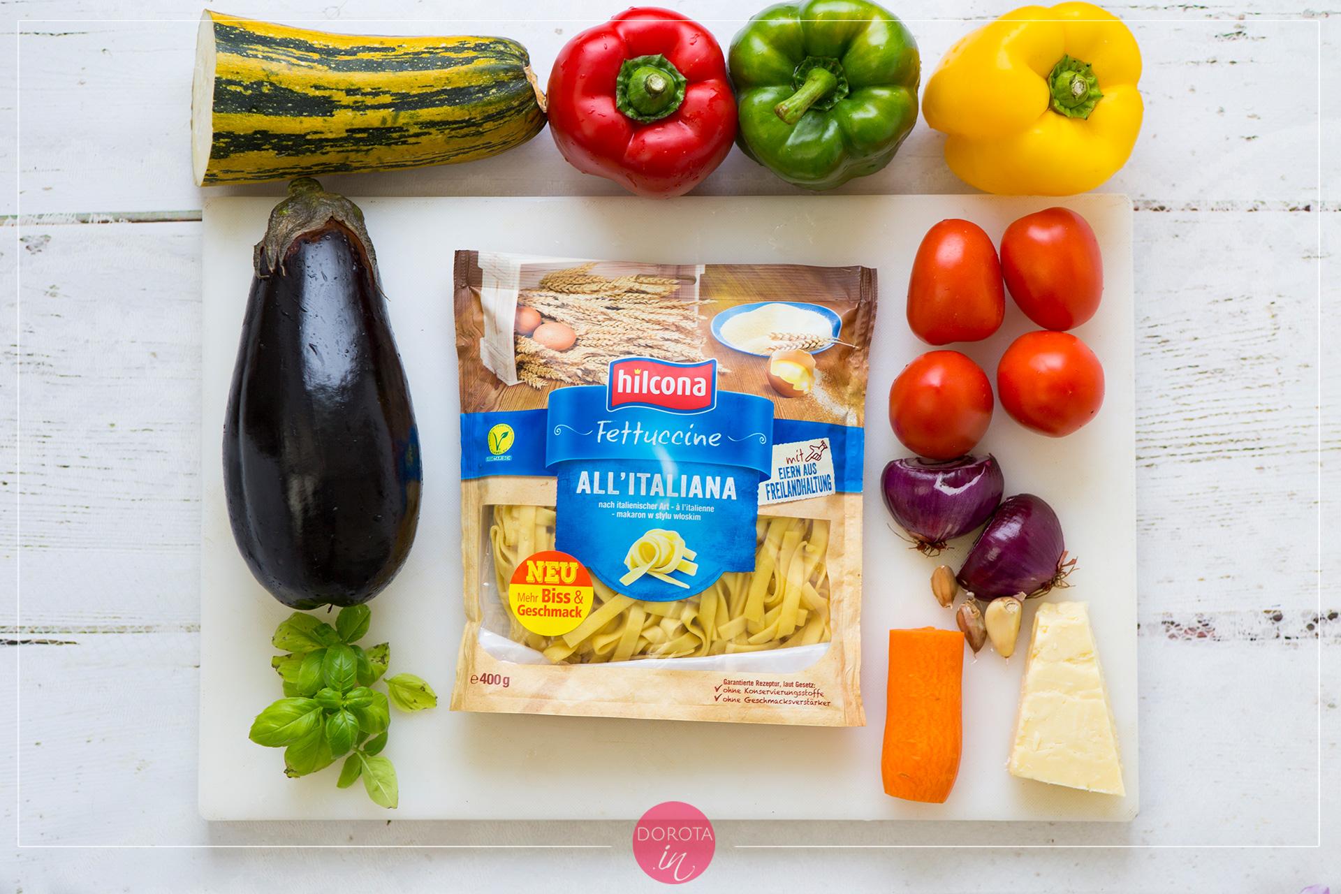 Makaron z warzywami - składniki