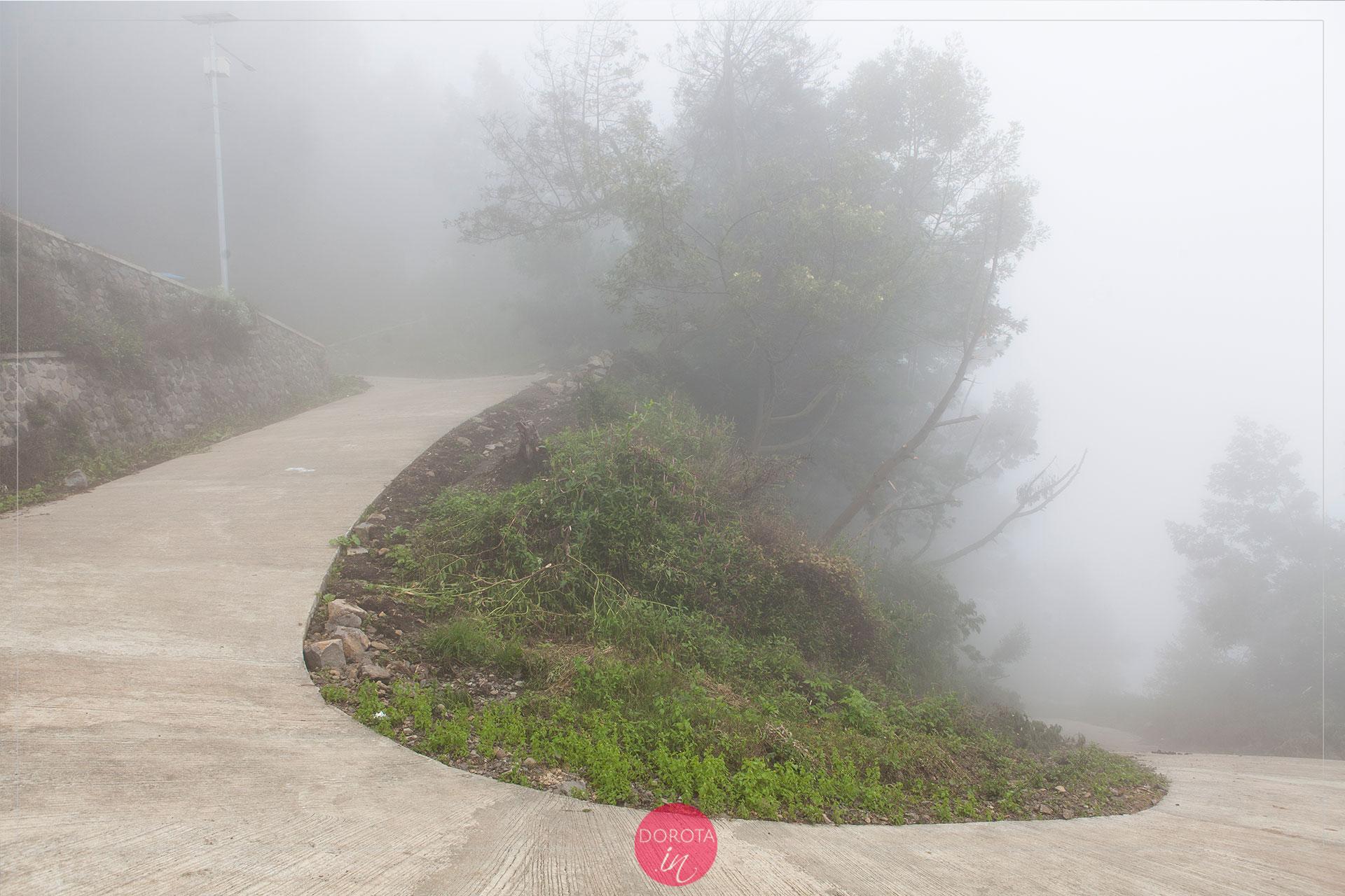 Mgła na szlaku i kręta droga