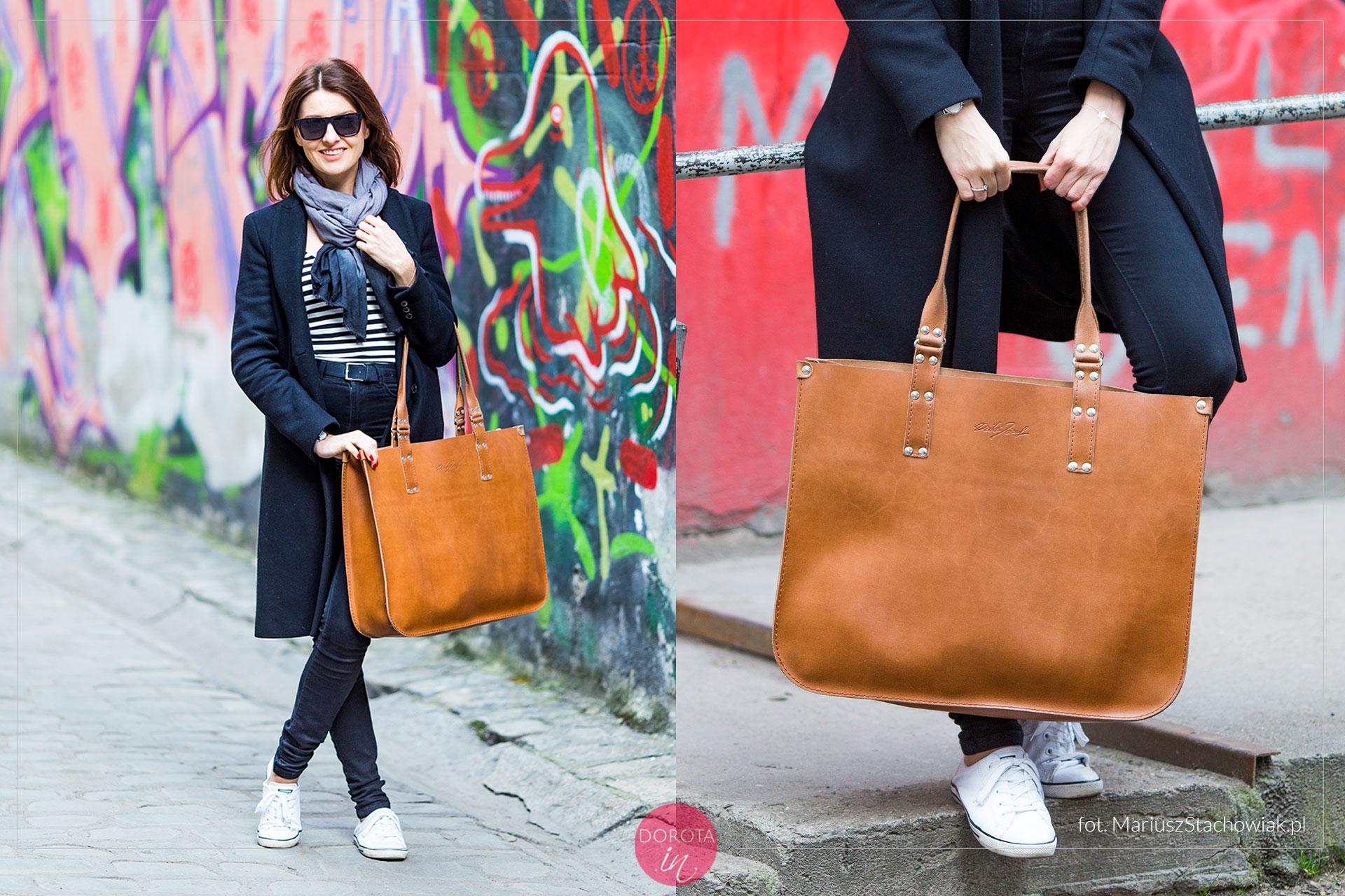 Wielka brązowa torba shopper