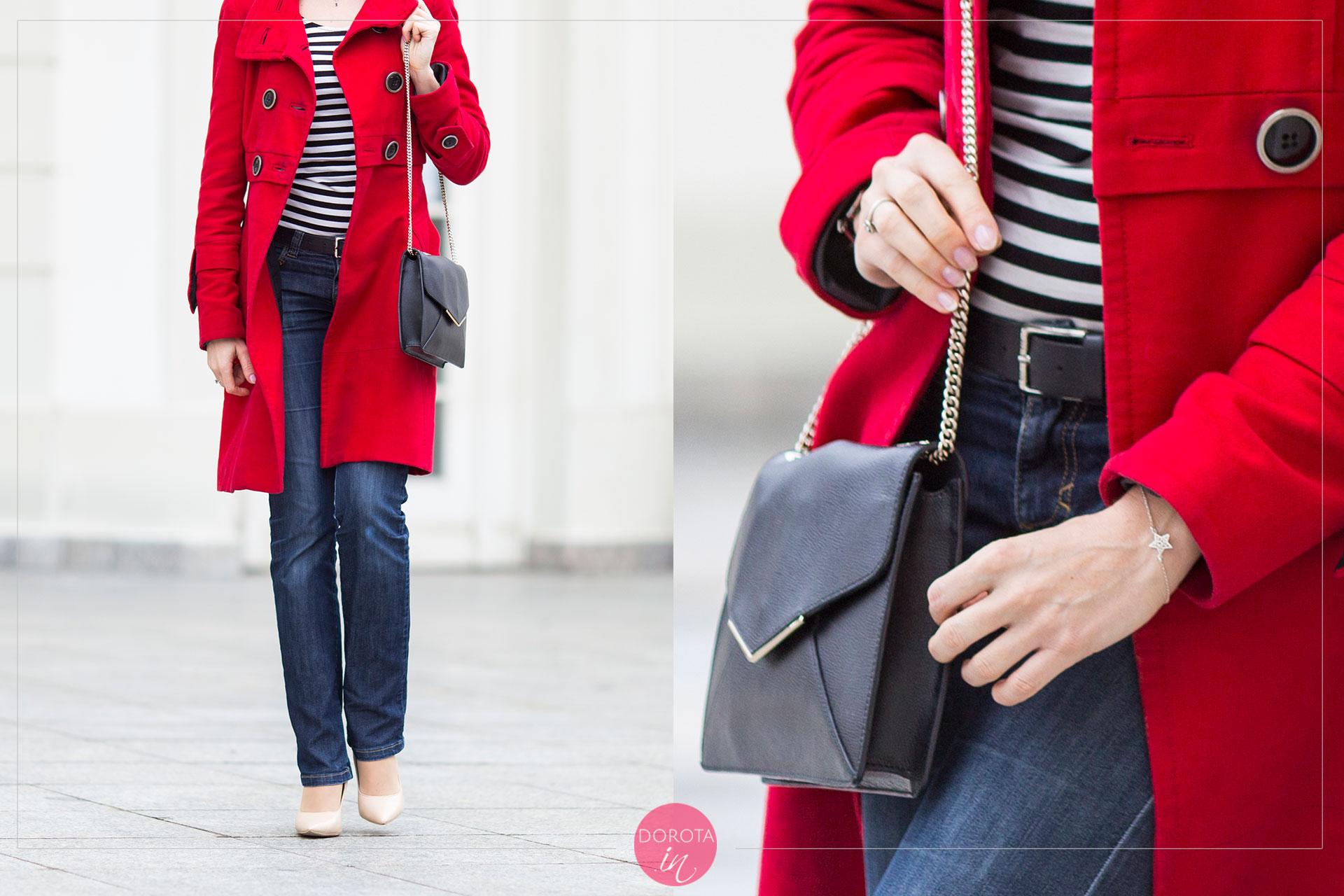 Czerwony płaszcz w stylizacji - detale