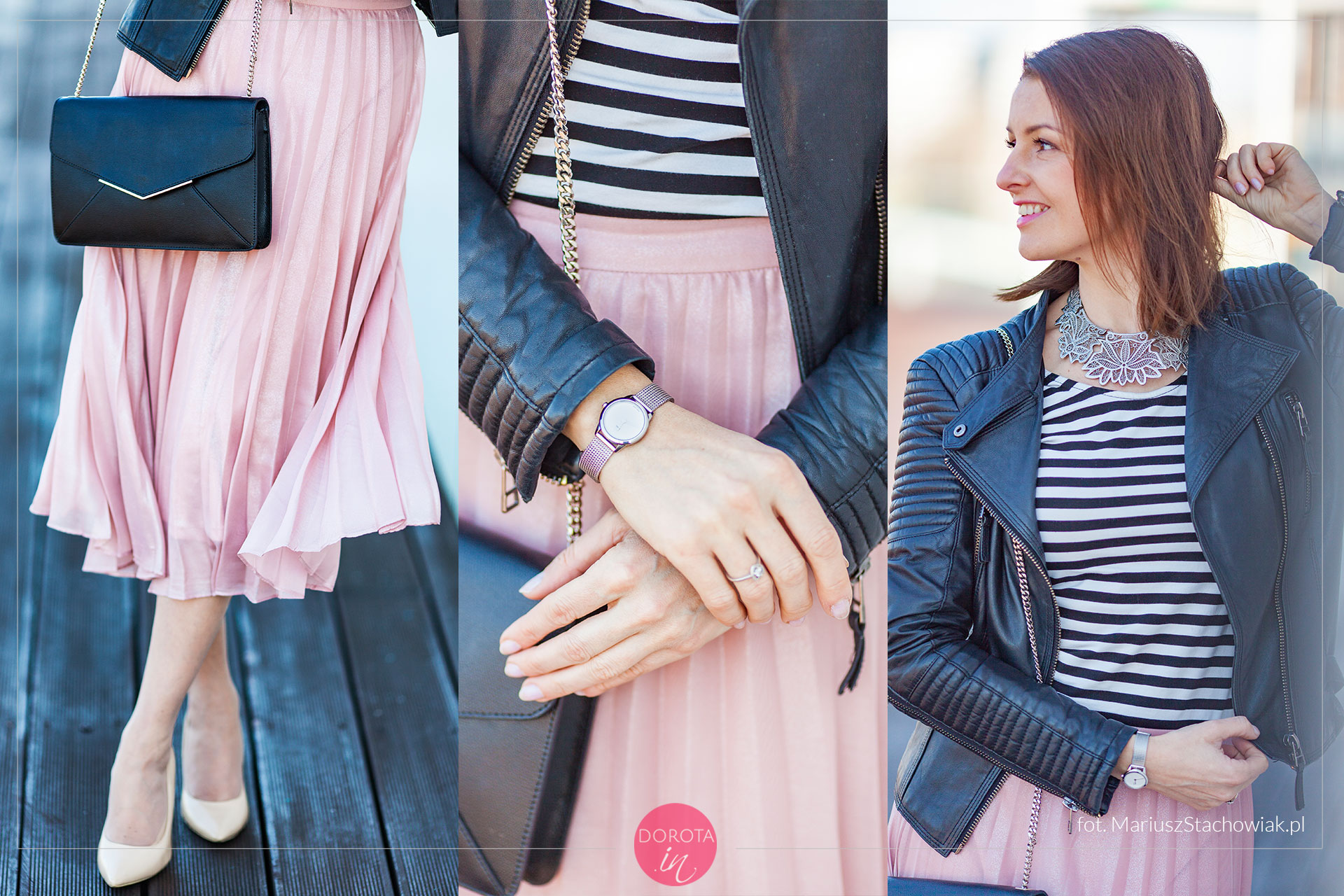 Różowa spódnica plisowana - dodatki