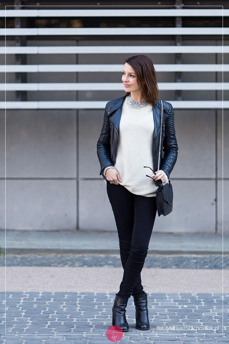 Sweter oversize z ramoneską - stylizacja rockowa